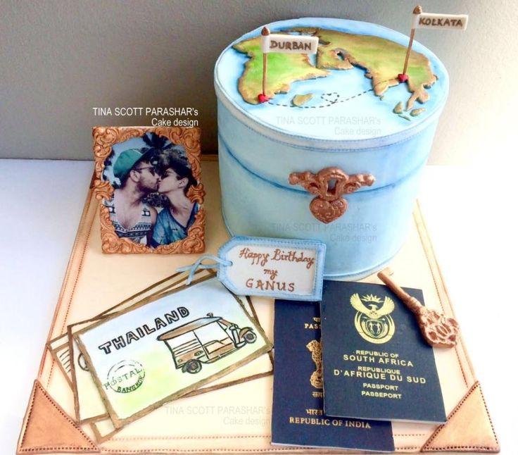 Love across Borders - Vintage Travel Case by Tina Scott Parashar's Cake Design