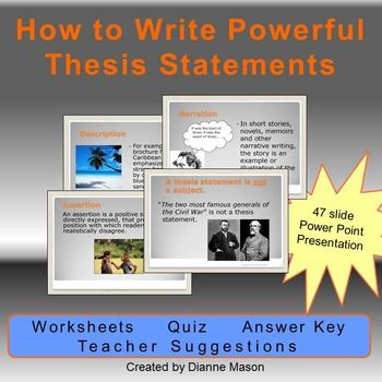 What is a Thesis Statement    Video   Lesson Transcript   Study com English worksheet  Thesis Statement Sentence