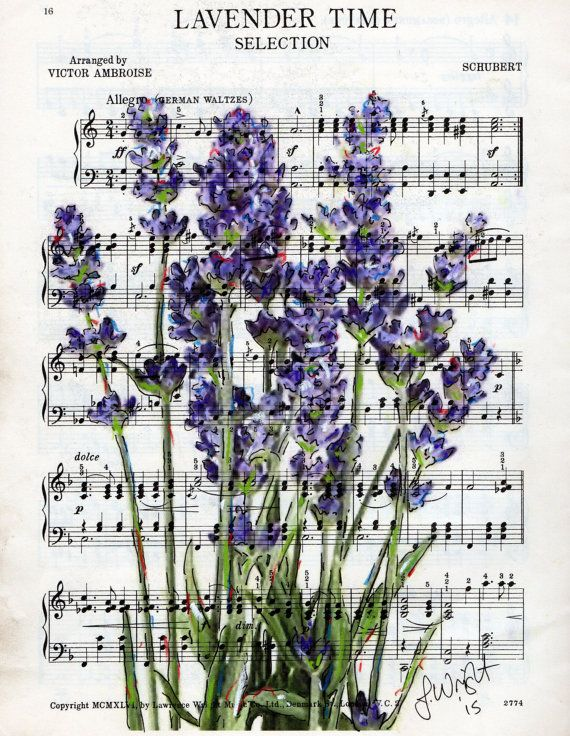 Lavender flowers on vintage sheet music by JulieWrightGallery
