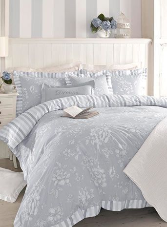 Holly Willoughby Tattershall Bedding - Tattershall is a beautiful, feminine floral design in cool crisp blues;the coordinating traditional stripe allows you to change your bedding with your mood. Its shabby chic feel and oxford edging throughout the design adds sophistication and elegance.