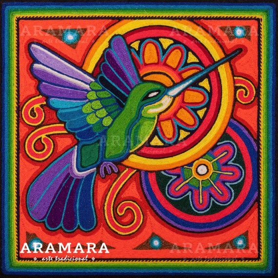 12 Mexican Huichol Humming Bird yarn painting 30 009 M by Aramara Mexican Wall Art, Mexican Artwork, Mexican Paintings, Owl Paintings, Van Gogh Pinturas, Huichol Art, Yarn Painting, Mexico Art, Aztec Art