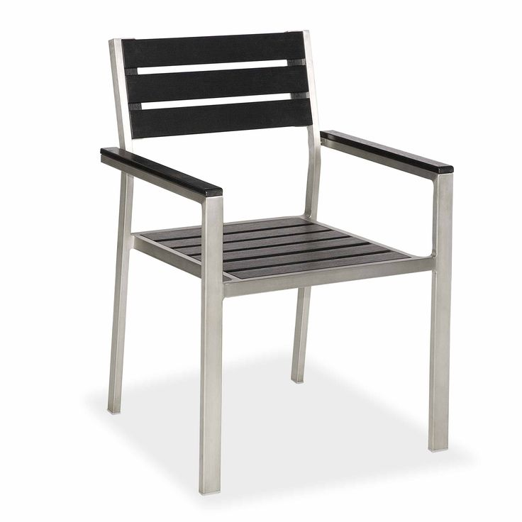 stainless steel frame plastic wood top outdoor chair