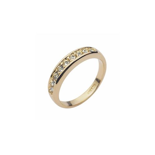 Elegant Gold Crystal Ring. 18K Gold plated ring with long sleek row of swarovski crystal.