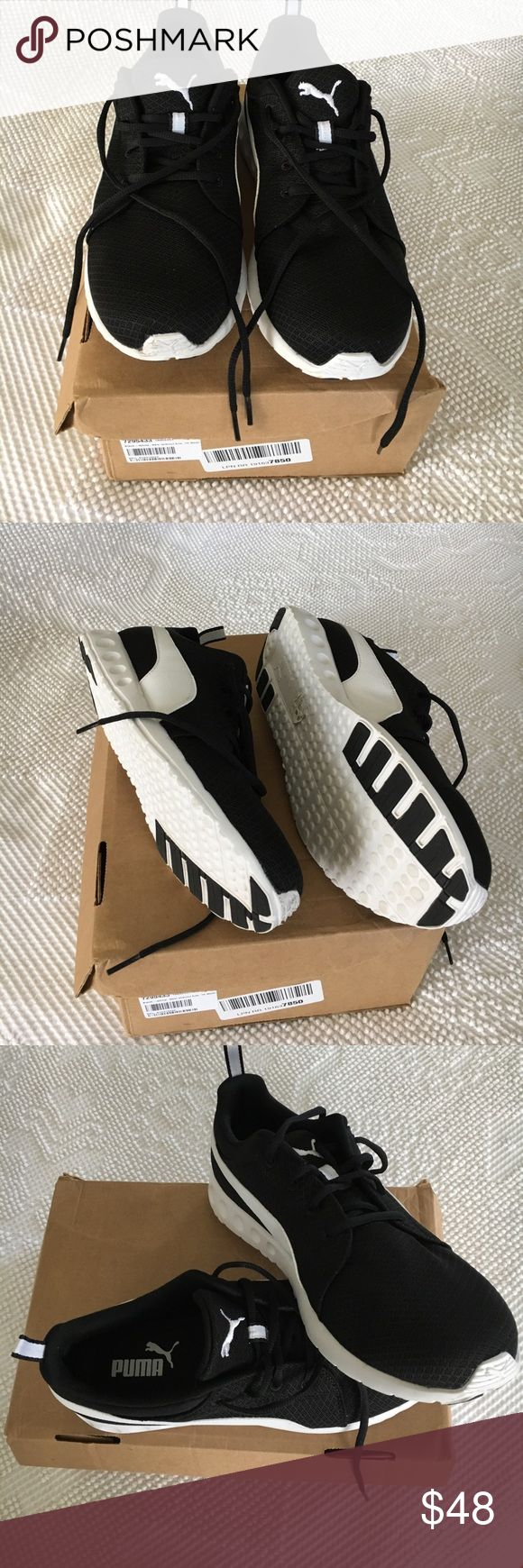 NWOT Puma black and white sneakers Brand-new never worn Puma Black and white sneakers size 10 medium. These were purchased online but they run a little big for me. I am sad because I really wanted them! Puma Shoes Sneakers
