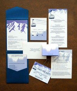breckenridge wedding custom invitations bridal ski lift pass rustic colorado denver mountains bridal program