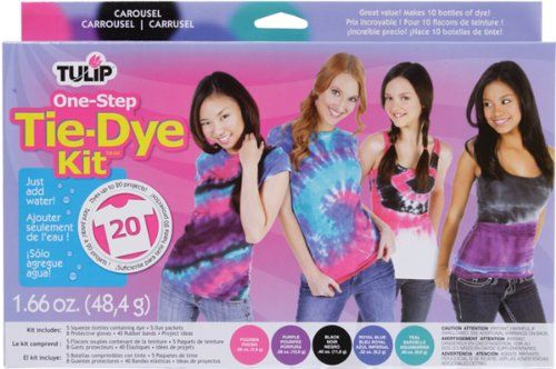 TULIP-One-Step Large Tie-Dye Kit. Create your own tie-dyed fashions! Bright non-fade dyes! These dyes are brightest on natural fibers such as cotton; wool; viscose; rayon; and silk and are safe and easy to use-just add water!