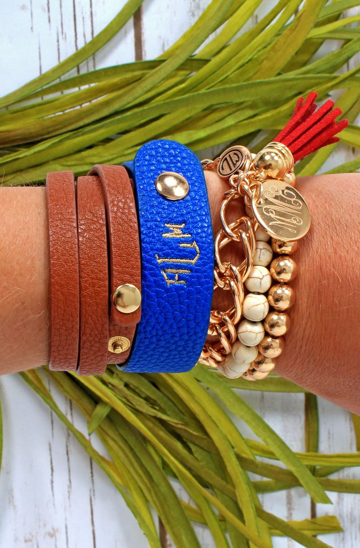 It's an arm party! Get this monogrammed embroidered leather bracelet and other arm candy at Marleylilly.com! #monogrammed #monograms #monogram #armcandy #summer
