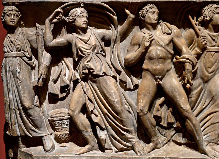 """Erinys, Electra and Orestes (a close-up of relief """"Orestes slaying Aegisthus and Clytemnestra""""). Frontal relief of a sarcophagus. Rome. Marble. Ca. 150 C.E. Inv. No. A 461.Saint-Petersburg, The State Hermitage Museum."""