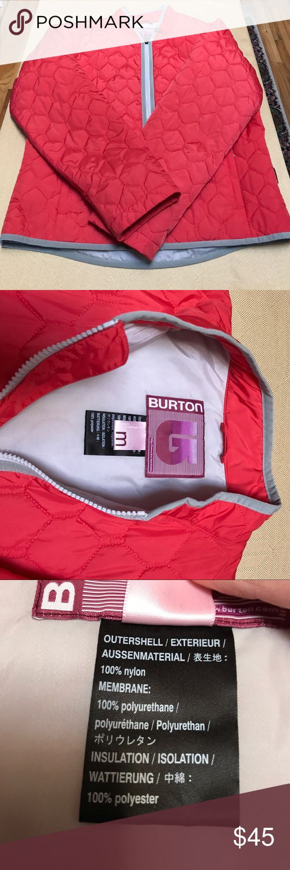 Adorable Burton jacket This Burton jacket is super cute! The color is a red poppy color with grey accents. The outside is textured kind of like a puffer jacket, but this jacket is fairly lightweight.  Jacket hits at the low waist. Barely worn - like new condition. Willing to entertain offers. Burton Jackets & Coats