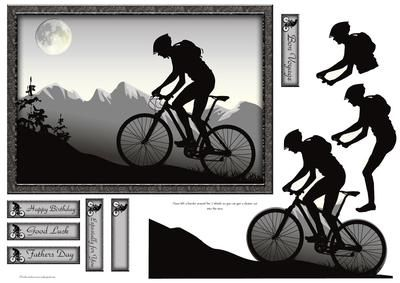 Mountain Bike on Craftsuprint designed by Gillian Hutchinson - Mountain bike silhouette card front with decoupage