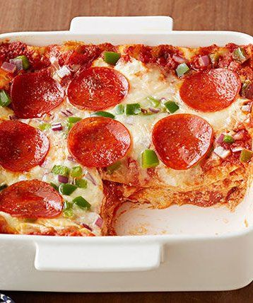 Pepperoni Pizza Lasagna: Here's a new version of pizza your family is really going to dig.