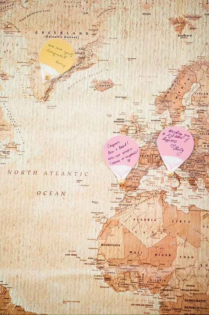 Mapa na której goście mogą zostawiać wiadomości Parze Młodej