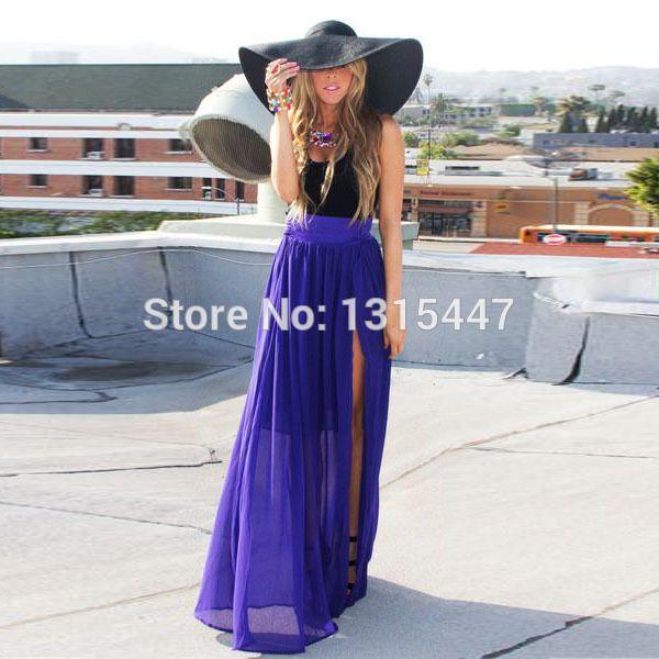 Aliexpress.com: Comprar Fantástico mujeres alta raja del lado Royal Purple una línea de falda larga 2015 nuevo estilo del verano Puffy gasa Formal de tenis falda Maxi de maxi faldas y vestidos fiable proveedores en Shining Star Dresses