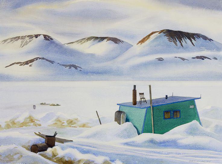 Doris Jean McCarthy (1910-2010) - Inuit House Against the Sunlit Distance