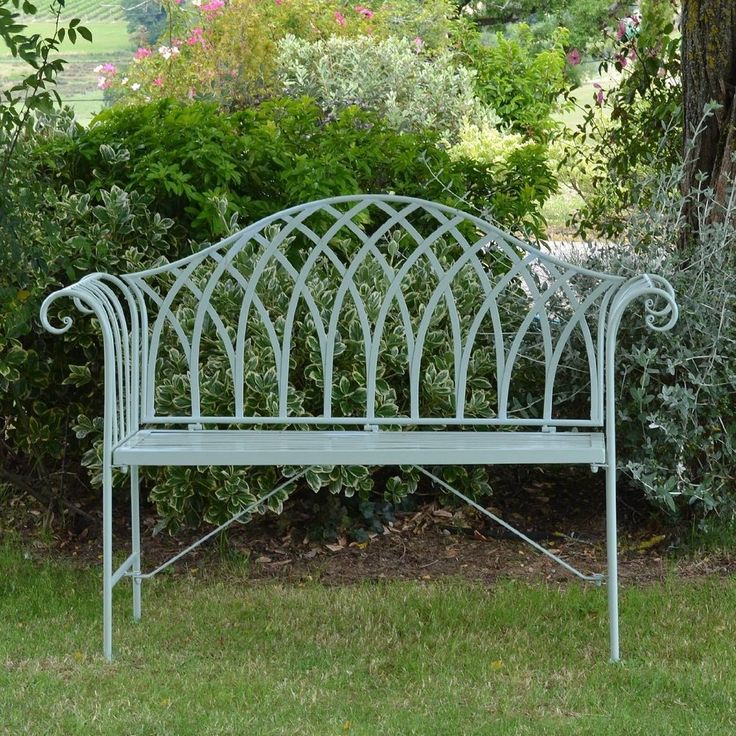 GARDEN BENCH Seat Chair Metal Gothic Outdoor Patio Wrought Iron Vintage                                                                                                                                                      More