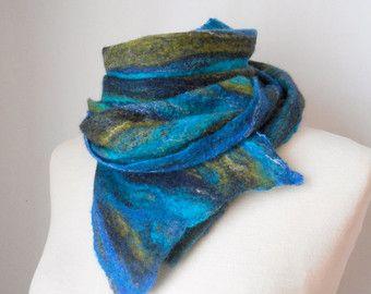 Bufanda de fieltro bufanda fieltro que lana fieltro bufanda turquesa azul verde púrpura fieltro regalos de bufanda (invierno del pavo real) para sus regalo idea caliente las tendencias que Hot picks