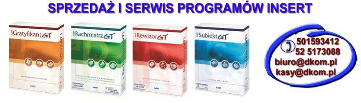 Sprzedaż, wdrażanie programów firmy Insert - Subiekt, Gratyfikant, Rachmistrz, Rewizor. http://www.dkom.pl