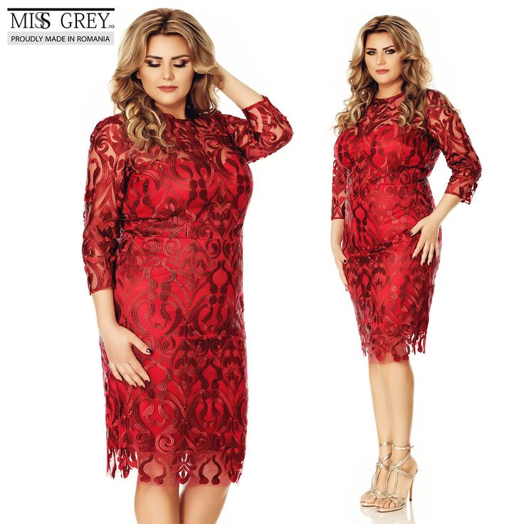 Look bold and seductive wearing the burgundy Anemona Plus Size.