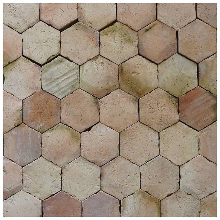 19th Century French Hexagon Rose Terra Cotta Flooring