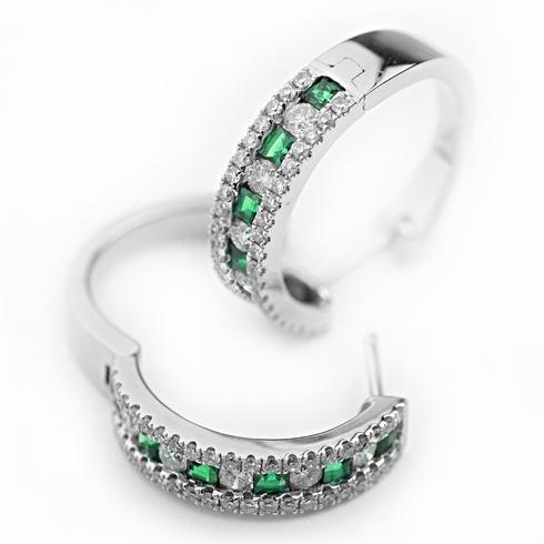 Cercei cu smaralde si diamante C105