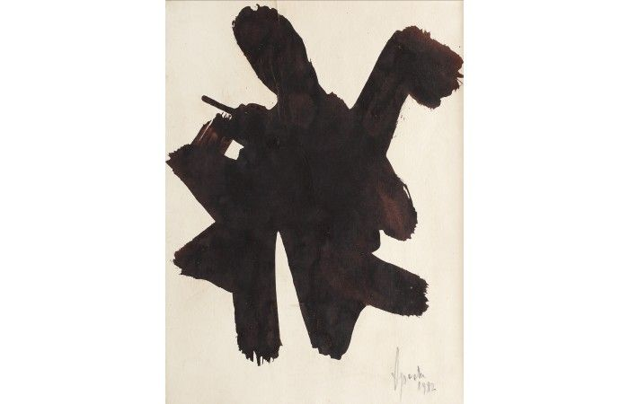 LOT 44 - GEORGE APOSTU - Butterfly [1982] - Tempera on paper laid on cardboard - 44.5 × 33 cm (17.5 × 13 inch) - Estimate €250 - €300 http://lavacow.com/current-auctions/lavacow-christmas-auction/bird.html#sthash.xxlgfCjU.dpuf
