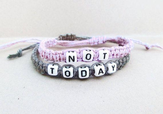 Not Today Bracelet // Pastel Grunge Bracelet // Pastel Goth Bracelets // Kawaii Creepy Cute Soft Grunge 90s Tumblr Punk Friendship Bracelet