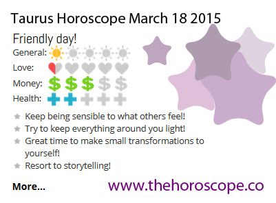 Friendly day for #Taurus on March 18th 2015 #horoscope ... http://www.thehoroscope.co/horoscope/Taurus-Horoscope-today-March-18-2015-2630.html