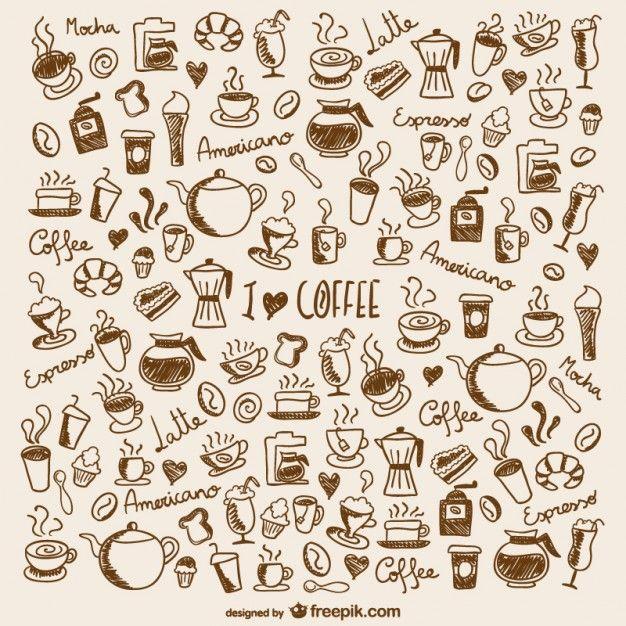 Doodles de café Vetor grátis