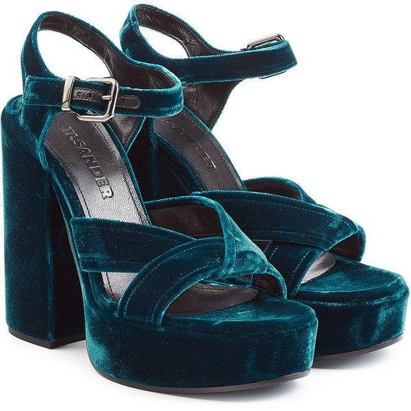 Jil Sander Velvet Platform Sandals (£400) ❤ liked on Polyvore featuring shoes, sandals, blue, platform sandals, high heel shoes, open toe sandals, blue sandals and blue shoes