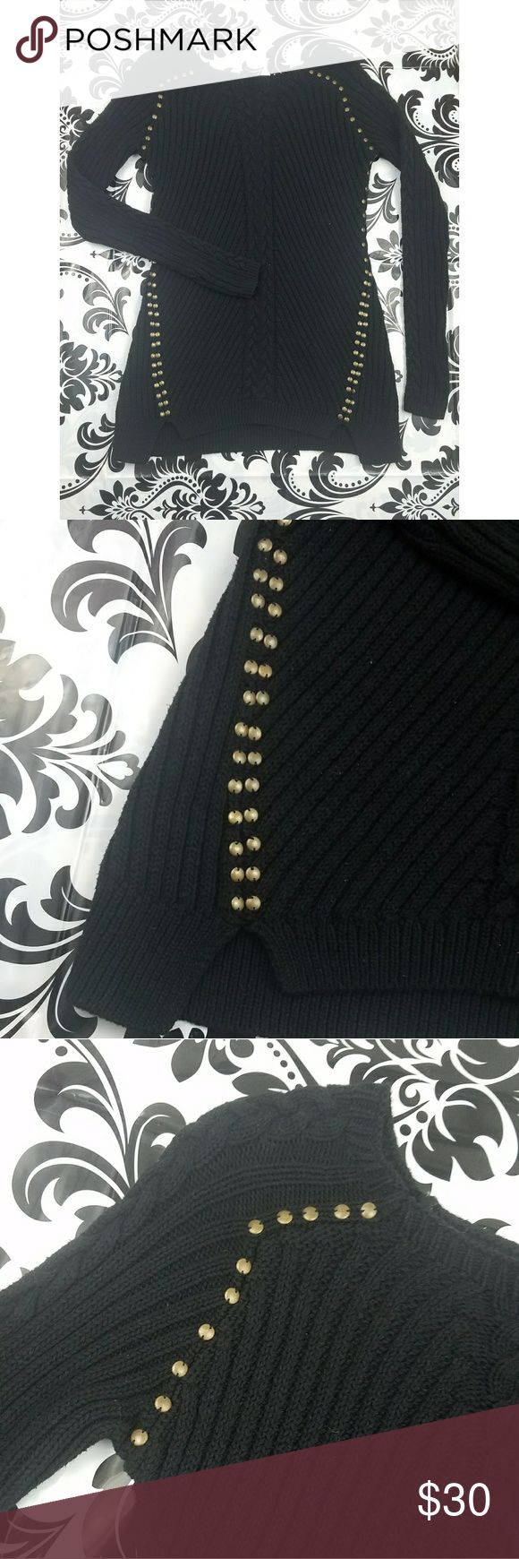 Philosophy studded sweater small Women's Size small philosophy brand studded sweater  Solid black chunky knit sweater with gold stud detail  Pre Owned good condition  100% cotton Philosophy Sweaters