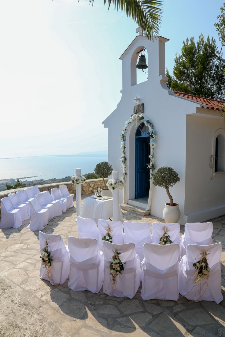 White-washed chapel with sea view Greek Wedding in Kefalonia, Greece