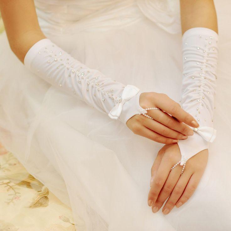Bride wedding satin embroidered mitts
