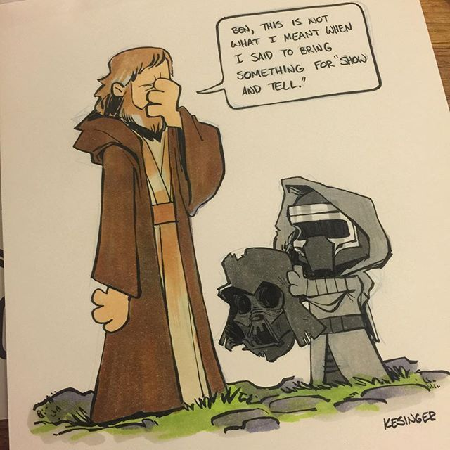 #lilkylo wasn't the best student at Luke's Jedi academy. Color commission inked with #copicmarkers