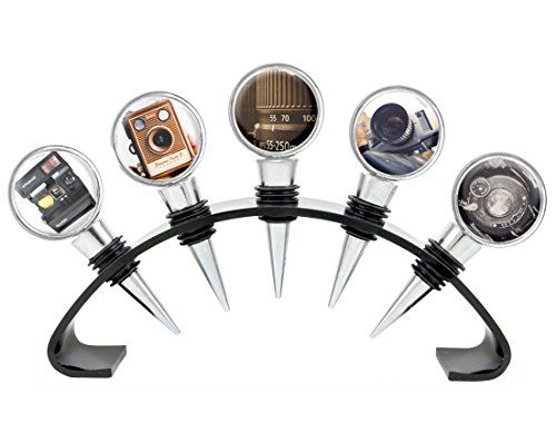 Photographer Collection Antique Classic Cameras and Polaroid and 8 MM Video Camera Custom Wine Stopper Set of 5 Stoppers with Free Stand