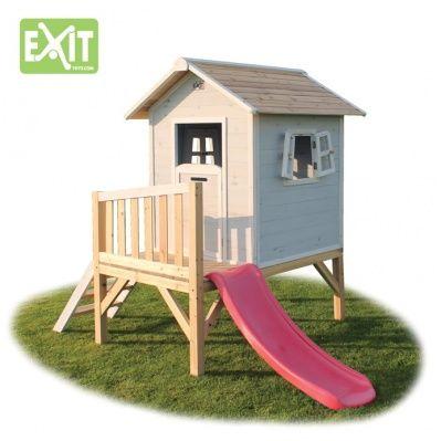Amazing Kinder Spielhaus EXIT Beach Kinderspielhaus Stelzenhaus Holz grau EUR Rechnungskauf m glich Grau vorgestrichenes Spielhaus auf kleinem Podest mit