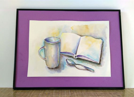 Watercolor still life Сup and book Original by PaintingByAHeart