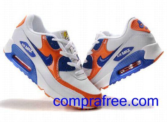 Comprar baratos mujer Nike Air Max 90 Zapatillas (color:naranja,azul,blanco) en linea en Espana.