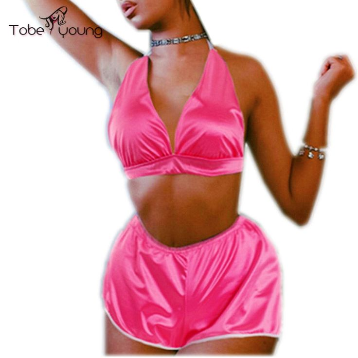 2016 Summer Casual Two piece Set Outfits Strappy Sexy Satin Crop Top Bralette and Short Pants Women Jumpsuit Rompers Bodysuit