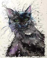 'Oscar The Black Cat' watercolour painting of a customer's cat (To have a painting from your own photograph it will be £95) by Sophie Appleton / www.sixfootsophie.co.uk ♥•♥•♥