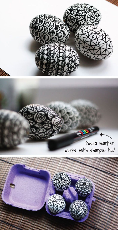 Black And White Doodled Easter Eggs | Bored Panda