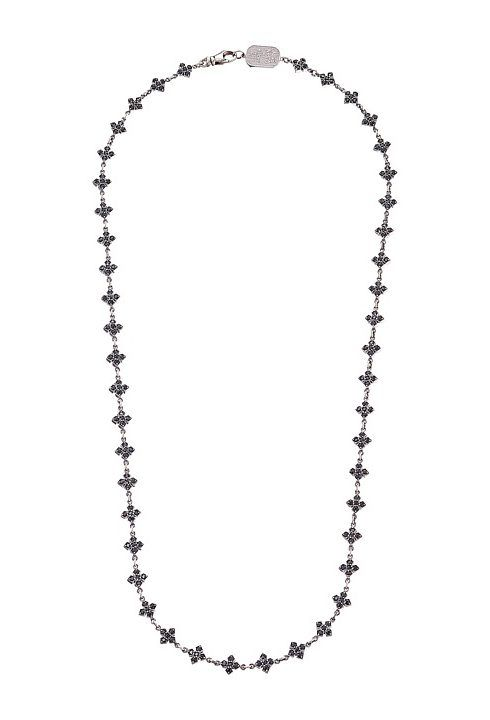 King Baby Studio Small MB Cross Chain Necklace w/ Black CZ Stones (Silver) Necklace - King Baby Studio, Small MB Cross Chain Necklace w/ Black CZ Stones, Q52-7101B-040, Jewelry Necklace General, Necklace, Necklace, Jewelry, Gift, - Fashion Ideas To Inspire