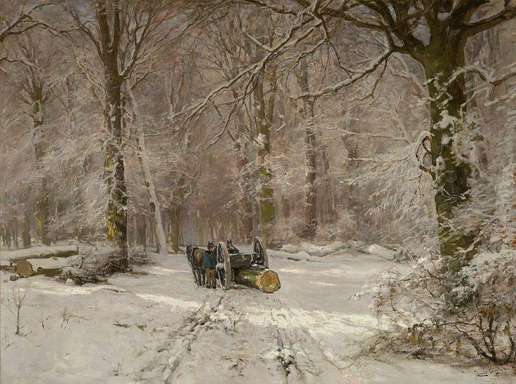 """https://www.facebook.com/MiaFeigelson """"Loggers in a winter forest"""" By (Lodewijk Frederik Hendrik (Louis) Apol ) Louis Apol, from the Hague, Netherlands (1850 - 1936) - oil on canvas; 50 x 60 cm - © Mark Smit Kunsthandel  http://www.marksmit.nl/"""