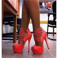 Mode de plate-forme en cuir rouge Coppy chaussures à talons hauts