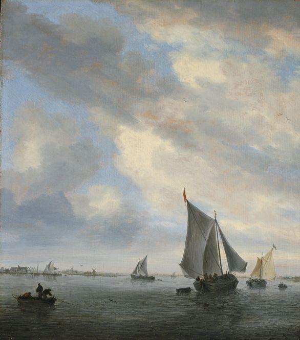 Salomon van Ruysdael, View of a Lake with Sailing Ships, ca. 1650-1651