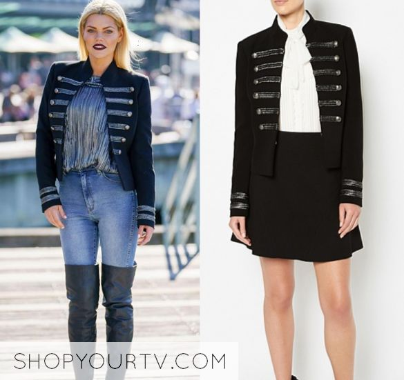 Sophie Monk wears this military button front jacket in this episode of The Bachelorette Australia on Thursday the 5th of October 2017. It is the Witchery Braided Jacket.