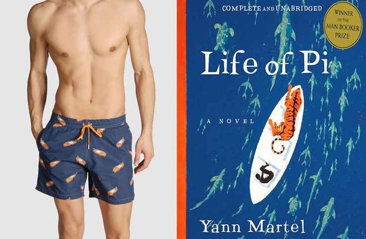 """The book: Life of Pi by Yann Martel  The first sentence: """"My suffering left me sad and gloomy.""""  The bathing suit: Men's Swimming Trunks by EUROPANN. $49."""