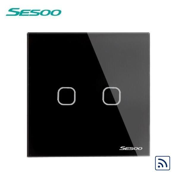 EU/UK Standard SESOO Wireless Remote Control Light Switches, RF433 Remote Control Touch Switch,2 Gang Wall Switch For Smart Home