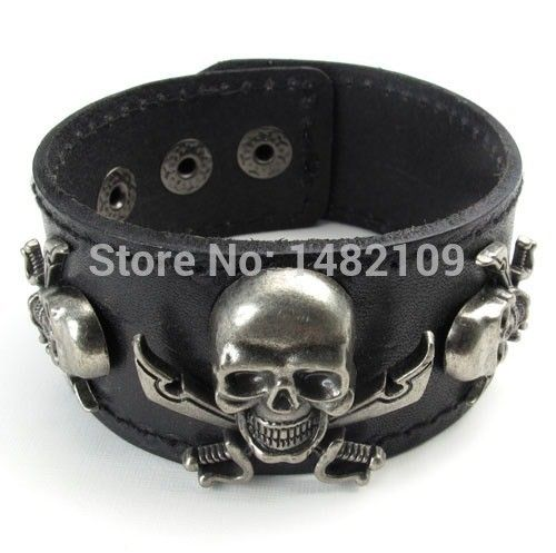 Rushed New Arrival Pulseras Pulseiras Men's Alloy Genuine Leather Bracelet Bangle Cuff Pirate Skull Gothic Free Shipping