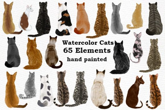 This Is A Great Set Of High Quality Hand Painted Watercolor Cats Clipart Perfect Illustrations For All Designs Christmas In 2020 Watercolor Cat Cat Clipart Clip Art