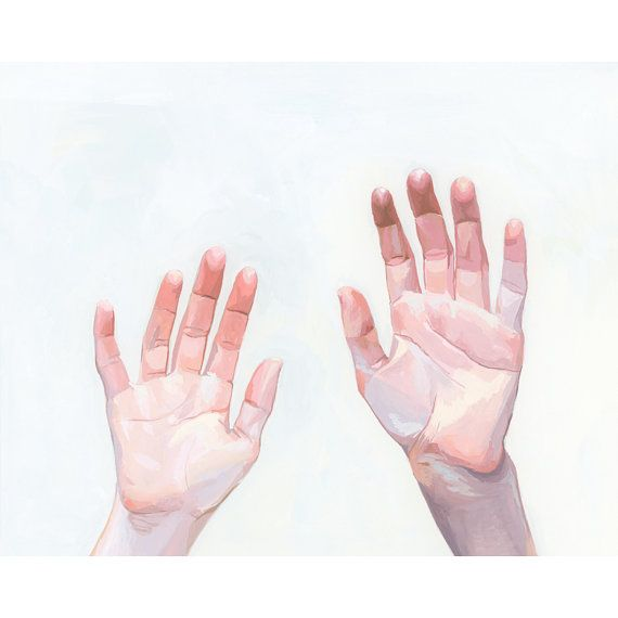 This is a 8x10 open edition giclee print of my original oil painting of two hands.  Image is printed on high quality 50 lb paper with a 1/4